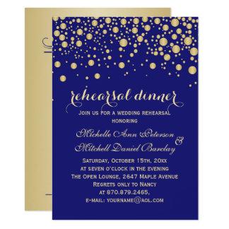 Confeti del oro en cena azul de medianoche del invitación 11,4 x 15,8 cm