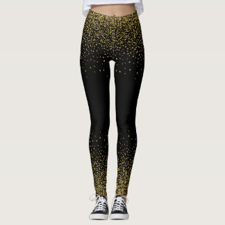Confeti del oro en negro leggings