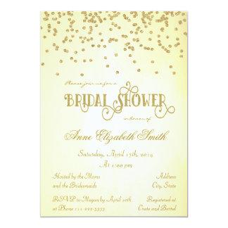 Confeti del oro y invitación nupcial de la ducha