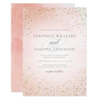 Confeti del oro y invitación rosada del boda de la