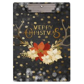 Confeti floral de las astas de las Felices Navidad Carpeta De Pinza