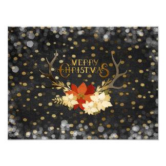 Confeti floral de las astas de las Felices Navidad Foto