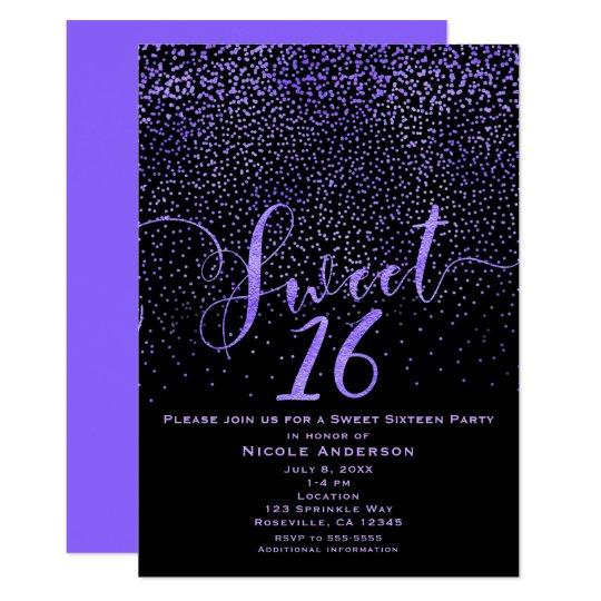Confeti moderno dieciséis del DULCE 16 púrpura y Invitación 12,7 X 17,8 Cm