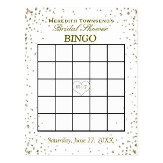 Confeti nupcial del oro del bingo el | de la ducha postal