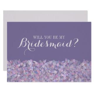 Confeti púrpura usted será mi dama de honor invitación 12,7 x 17,8 cm