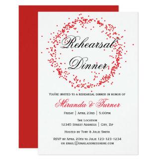 Confeti rojo - invitación de la cena del ensayo