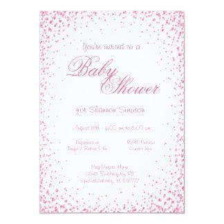 Confeti rosado de la fiesta de bienvenida al bebé invitación 12,7 x 17,8 cm