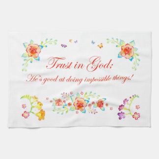 Confianza en dios paño de cocina