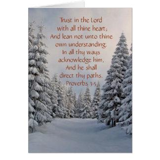 Confianza en la tarjeta de encargo de señor Bible