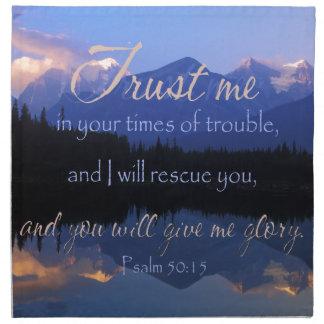Confianza en mí en tiempos de 50:15 de los salmos servilleta de tela