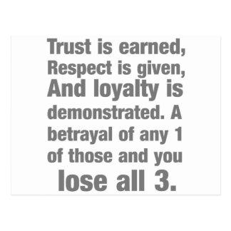 confianza, lealtad, el decir del respecto postal