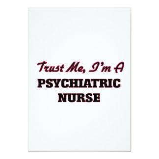 Confíe en que yo es enfermera psiquiátrica invitación 12,7 x 17,8 cm