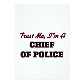 Confíe en que yo es jefe de policía invitación 12,7 x 17,8 cm