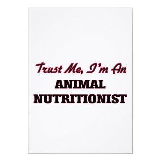 Confíe en que yo es nutricionista animal invitación 12,7 x 17,8 cm