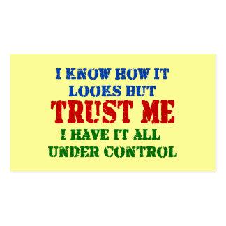 Confíeme en -- Todos bajo control Tarjetas De Visita