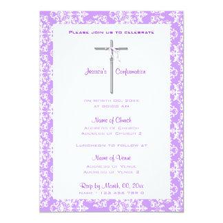 Confirmación blanca púrpura de la comunión del invitación 12,7 x 17,8 cm