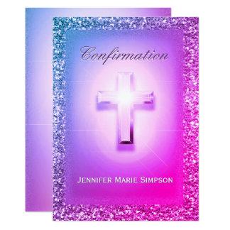 Confirmación con brillar intensamente cruzado en invitación 12,7 x 17,8 cm