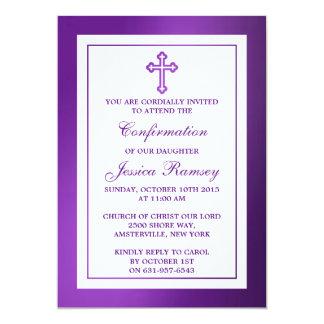 Confirmación cruzada púrpura metálica de la invitación 12,7 x 17,8 cm