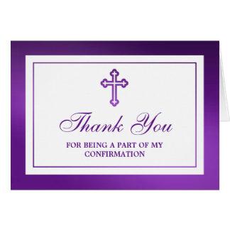 Confirmación cruzada púrpura metálica de la tarjeta de felicitación