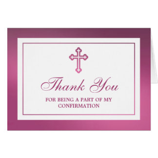 Confirmación cruzada rosada metálica de la tarjeta de felicitación