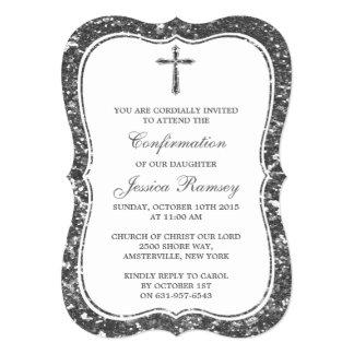 Confirmación de plata de la comunión santa de la invitación 12,7 x 17,8 cm