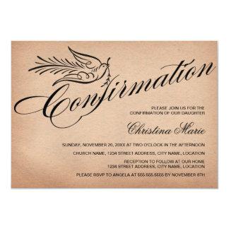 Confirmación elegante de la caligrafía invitación 12,7 x 17,8 cm