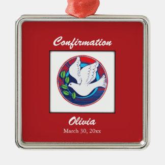 Confirmación, paloma colorida, regalo cuadrado adorno navideño cuadrado de metal