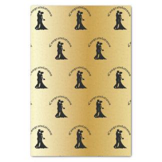 Congrats en el papel seda del oro del boda