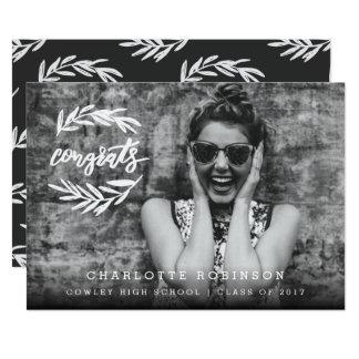 CONGRATS WREATH-BLACK Y BLANCO INVITACIÓN 12,7 X 17,8 CM
