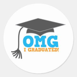 ¡Congratuations de OMG I graduado! Pegatina Redonda
