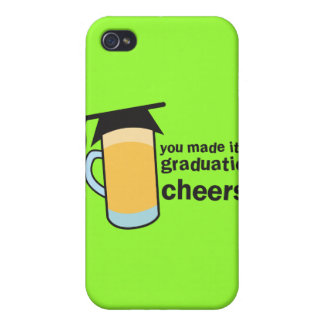 ¡congratuations que usted graduó! Vidrio de CERVEZ iPhone 4 Cárcasas