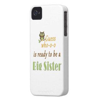 Conjetura que alista el búho de la hermana grande iPhone 4 Case-Mate cobertura