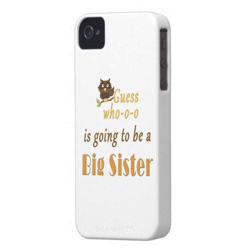 Conjetura que búho Brown de la hermana grande iPhone 4 Case-Mate Cobertura