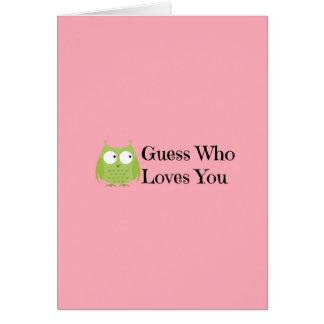 Conjetura que le ama tarjeta del día de San Valent