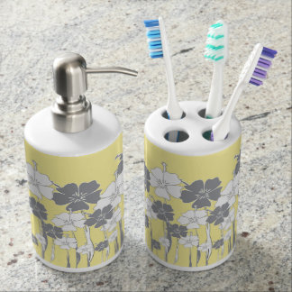 Conjunto De Baño Flor amarilla y gris