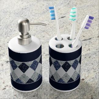 Conjunto De Baño Purpurina del reflejo de la plata de los azules de