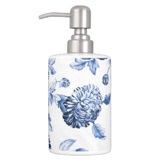 Conjunto De Baño Toile floral botánico azul y blanco No2 del bígaro