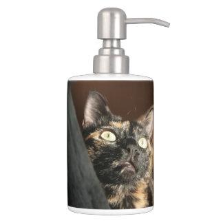 Conjunto De Baño tortie cat dispender & holder soap tooth brush
