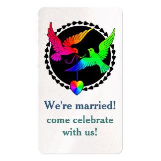 Conjunto de la invitación gay de la recepción de tarjetas de visita