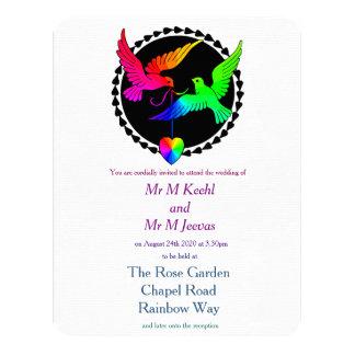 Conjunto de la invitación gay del boda del arco