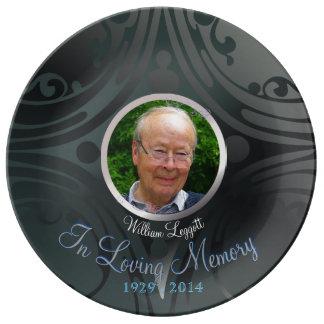 Conmemoración conmemorativa del ébano del negro de plato de porcelana
