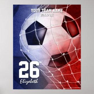Conmemore el azul blanco rojo del equipo del póster