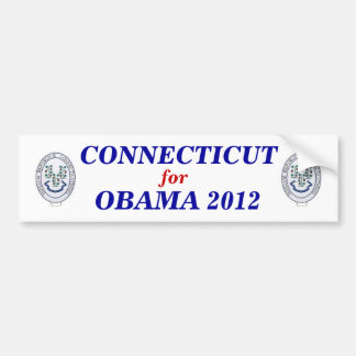 Connecticut para el pegatina 2012 de Obama Pegatina De Parachoque