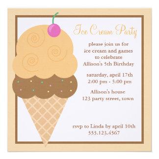 Cono de helado anaranjado invitaciones personalizada
