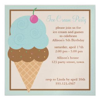 Cono de helado azul invitacion personal