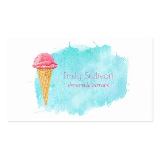 Cono de helado con una salpicadura azul de la tarjetas de visita