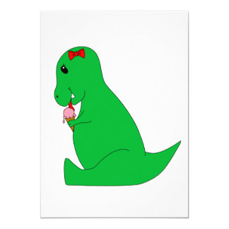 Cono de helado de T-Rex Invitación 12,7 X 17,8 Cm