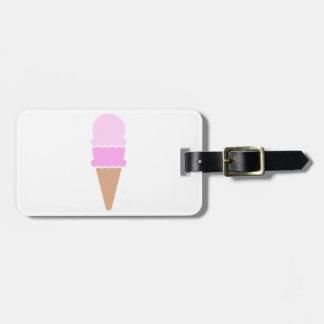 Cono de helado doble de la cucharada - rosas etiquetas para maletas