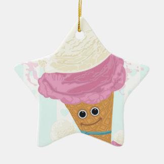 Cono de helado feliz adorno de cerámica en forma de estrella