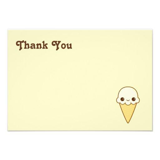 Cono de helado feliz de vainilla de Kawaii Comunicados Personales